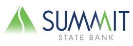company logo with green triangular graphic and caption summit state bank