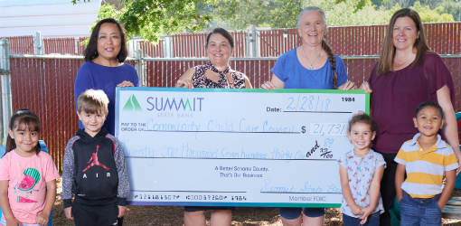 Summit State Bank presenting a check to a local non-profit.