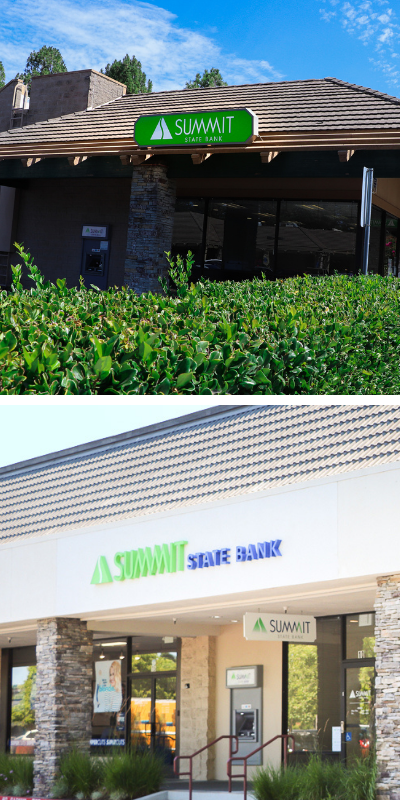 images of summit state bank branches in healdsburg and rohnert park
